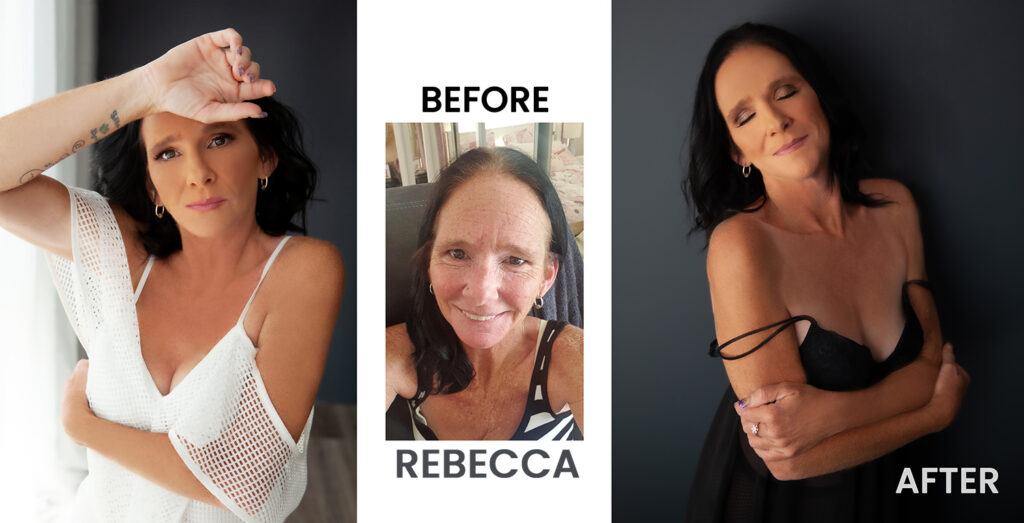 Before and After glamour photography